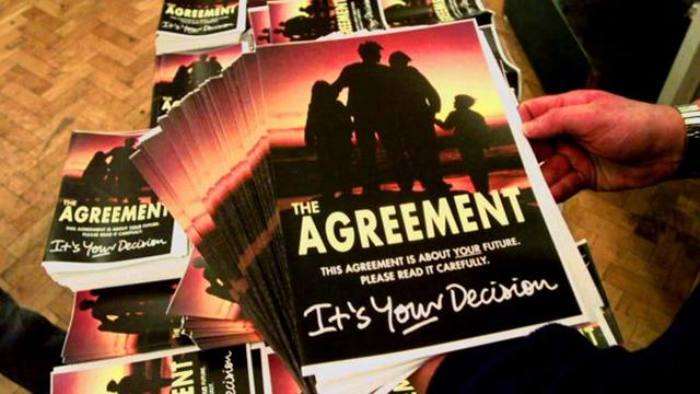 Copies of the Good Friday Agreement, 11 April 1998 (Associated Press)