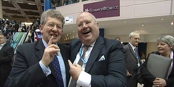 Bath and LibDem MP Don Foster embracing Tory cabinet minister Eric Pickles
