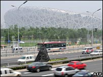 Traffic passing Beijing National Stadium