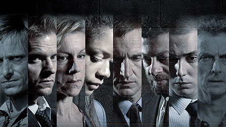 (L-R) Mackenzie Crook stars as Lance Corporal Alan Buckley, Marc Warren as Kenny Armstrong, Juliet Stevenson as Helen Ryland, Naomie Harris as Alison Wade, Christopher Eccleston as Willy Houlihan, Andy Serkis as Liam Black, Benjamin Smith as Frankie Nash and Peter Capaldi as Frank Ryland, in Jimmy McGovern's Accused