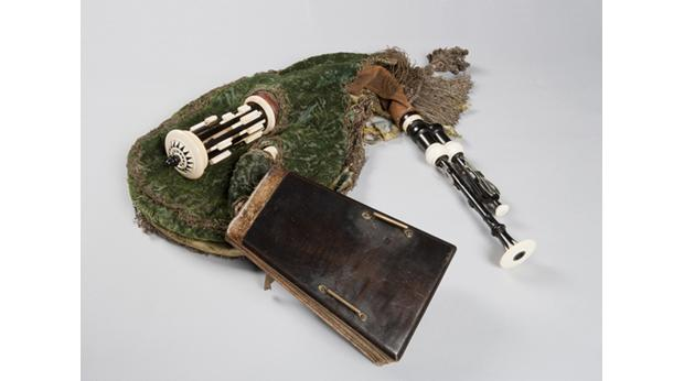 This musical instrument is a very early, rare example of a musette de cour, a bagpipe played at the French court.