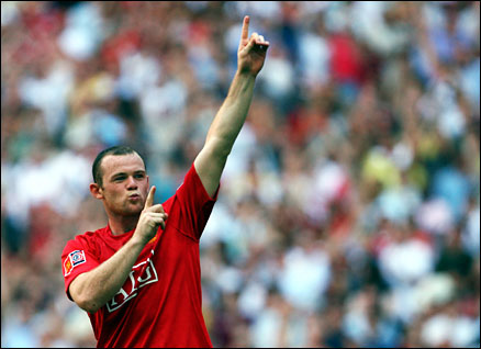 Manchester United's Wayne Rooney celebrates his winning penalty in last Sunday's Community Shield