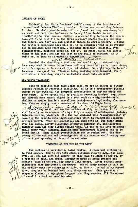 Page 2 of the format notes for 'Doctor Who'.
