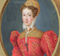A portrait of Mary Queen of Scots who was Queen of Scotland from a tiny baby until 1567.