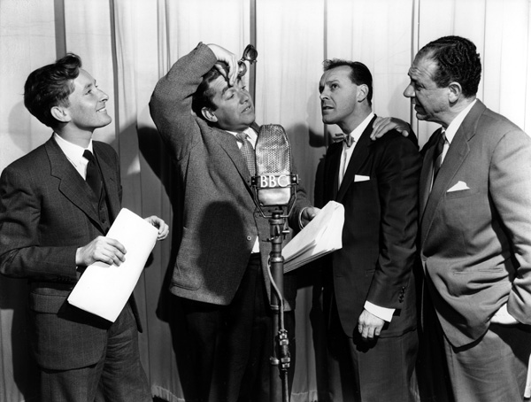 Kenneth Williams, Tony Hancock, Bill Kerr and Sidney James