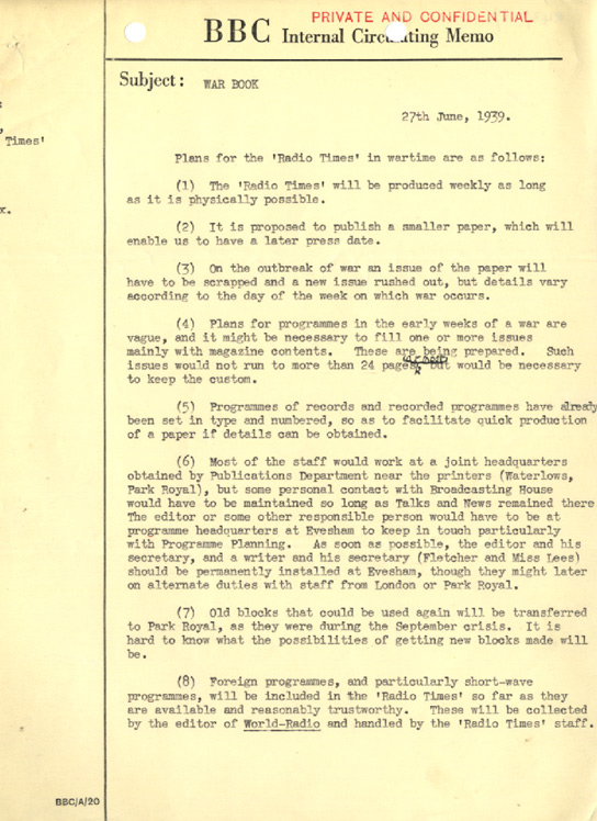 A memo on how the 'Radio Times' would continue during wartime.