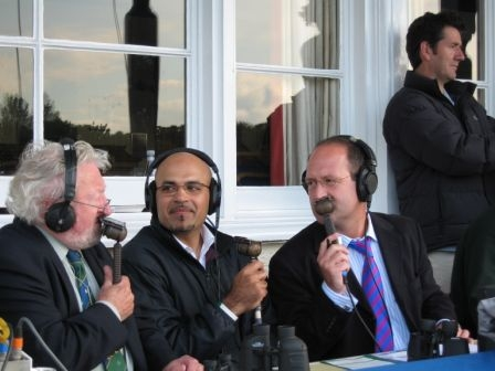 Geoff Webster with Keith Graham and Zulfiqar Shahid commentating for BBC Radio Scotland on the Scotland v Pakistan one day cricket international.