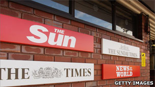 Signs for the four News International newspapers