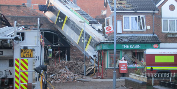 Tram crash on Coronation Street set