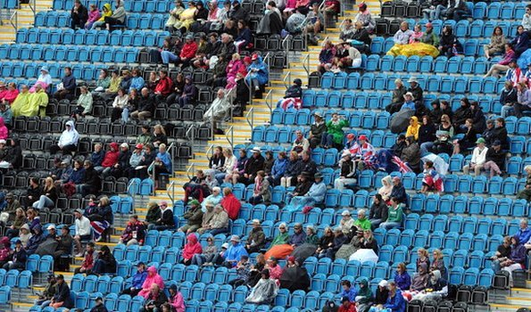 Empty seats at an Olympic dressage event