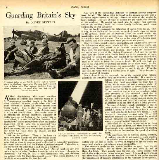 A page from a 1940 'London Calling' article about aerial dogfights.