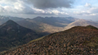 View from the scree covered top of Sgurr Eilde Mor to the surrounding mountains.