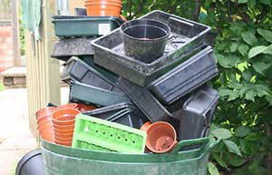 Pot Trays Gardening Bbc gardening gardening guides today in your garden ethical plastic pots the ethical debate image pile of plastic trays and pots workwithnaturefo