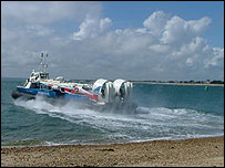 The Hovercraft setting off from Southsea