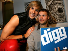 In this photo provided by Digg.com, Sacha Baron Cohen, in character as the Austrian flamboyant fashionista, Bruno, left, poses with Digg Dialogg host Andrew Bancroft during an interview in West Hollywood, Calif., on Tuesday, June 30, 2009