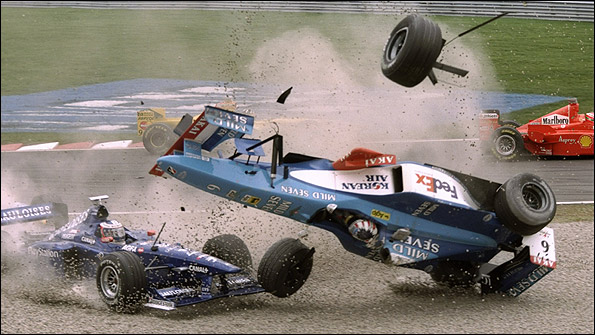 Alexander Wurz rolls his Benetton at the first start of the 1998 Canadian Grand Prix