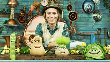 Mr Bloom (Ben Faulks) with some of his friends