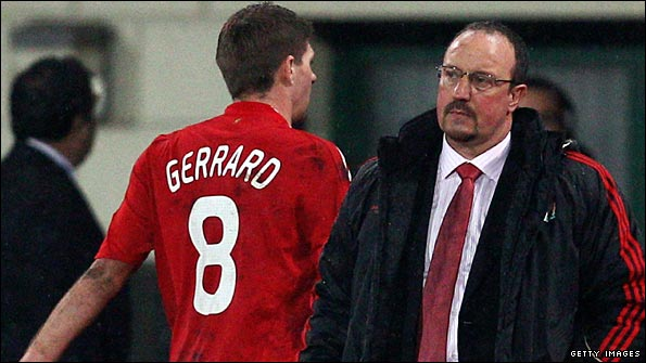 Benitez ponders Liverpool's Champions League exit as Steven Gerrard heads to the dressing room