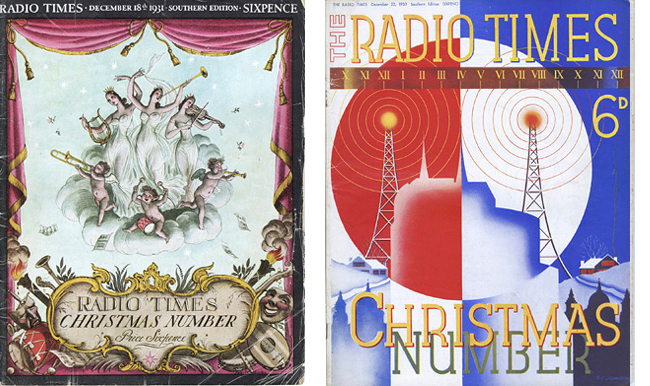 Covers from the 1931 and 1933 editions of the Christmas Radio Times.