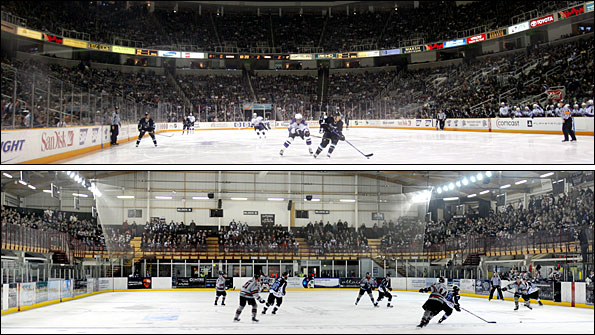 Top: San Jose Sharks' HP Pavilion. Bottom: Manchester Phoenix's Altrincham Ice Dome.