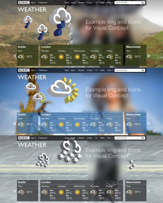 Homepage mockup with 3D weather symbols on top of landscape photographs.