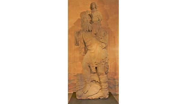The giant medieval sandstone Saint Christopher statue from Norton Priory stands 3.37m tall.(National Museums Liverpool).