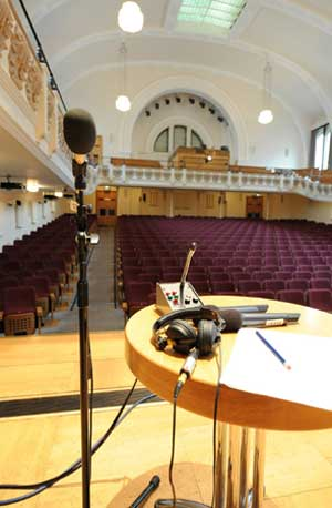 Photo of Radio 3 presenter's table at Cadogan Hall