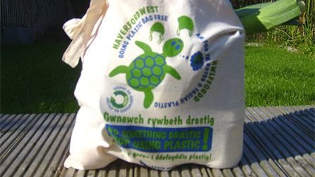 The new re-usable bags being sold in Haverfordwest.