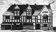 William Shakespeare's birthplace.  The drawing, done in 1769, shows how it would have looked in Shakespeare's time.