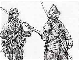 Soldiers from the English Civil Wars. On the left a musketeer, on the right a pikeman.