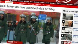 Screengrab of BBC video from Tibet