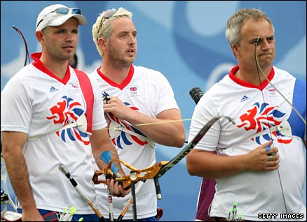 GB's Paralympic gold medal team from the 2004 Athens Games, Anita Chapman, Margaret Parker and Kathy Smith