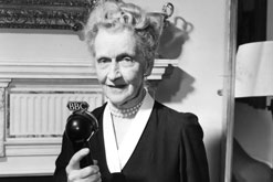 "Nancy, Viscountess Astor, C.H. records for the special Sunday programme which on October 7th 1956, marked the tenth anniversary of the first ""Woman's Hour"""