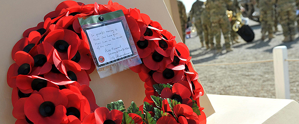 Poppy wreath at Camp Bastion on Remembrance Sunday