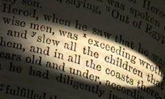 Un verset de la Bible relatant le massacre des nouveau-nés par Hérode's massacre of the newborns