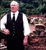 """Bartley na pedreira em Hollington, Staffs, onde ele ganhou o título de """"Rei dos ciganos"""", em uma briga com Jack Fletcher em 1972"""