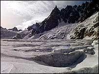 Glaciar nos Alpes