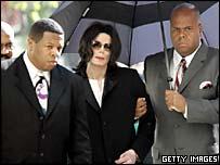 مايکل جکسون با کمک دستيارانش وارد دادگاه می شود