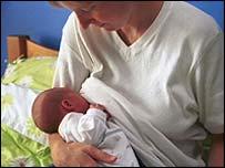 Mãe amamentando filho