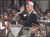 حامد کرزی در مراسم سالگرد ورود مجاهدين به کابل