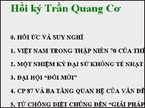 Hồi ký Trần Quang Cơ trên mạng