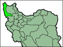 استان آذربایجان غربی در نقشه ایران