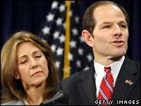O governador de Nova York, Eliot Spitzer, e sua esposa