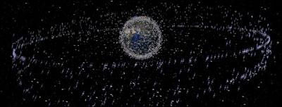 Imagem dos resíduos espaciais. Foto: Agência Espacial Européia