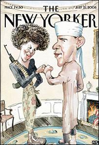 Gambar kartun Barack Obama di sampul New Yorker