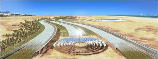 Simulação de computador do Projeto Sahara. Seawater Greenhouse