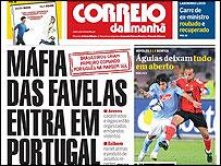 Capa do jornal português 'Correio da Manhã' de 19 de setembro de 2008