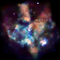 Imagem da 30 Doradus feita pelo observatório de raios-X Chandra, da Nasa