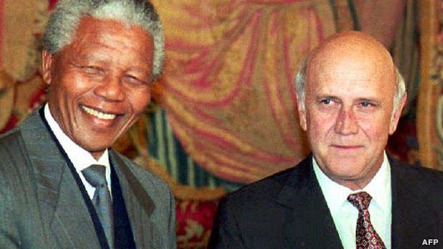 ماندلا و رئیس جمهوری آفریقای جنوبی، فردریک ویلم دکلرک