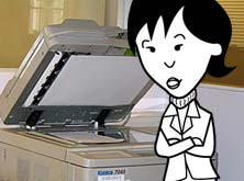 Helen by the photocopier